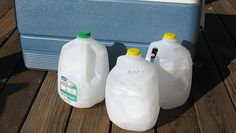 Camping tip – Fill a gallon milk jug almost full with water and 1/4 cup regular table salt (leave space for the ice to expand). Freeze. Pack into your cooler and it acts as an ice block that won't melt all over your food! The salt slows the melting of the ice.