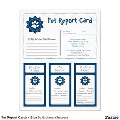 Pet Report Cards   Blue