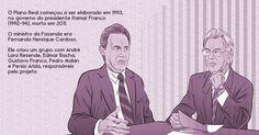 O Plano Real começou a ser elaborado em 1993, no governo do presidente Itamar Franco (1992-94), morto em 2011. O ministro da Fazenda era Fernando Henrique Cardoso. Ele criou um grupo com André Lara Resende, Edmar Bacha, Gustavo Franco, Pedro Malan e Persio Arida, responsáveis pelo projeto. Imagem: Marcos Farrell / UOL. http://economia.uol.com.br/album/2015/06/30/plano-real-completa-21-anos-entenda.htm#fotoNav=3