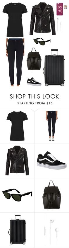 """""""24/05 - Arriving in New York"""" by ms-schultz ❤ liked on Polyvore featuring Topshop, Current/Elliott, BLK DNM, Vans, Ray-Ban, Mansur Gavriel and Rimowa"""