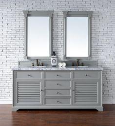 "Savannah 72"" Double Sink Bathroom Vanity Cabinet - Urban Gray Finish - Carrara White Marble Countertop - Matching Mirrors"
