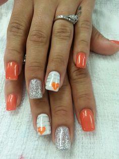 prom dress makeup nail design inc nail makeup hansen chrome nail makeup makeup nailart nail makeup inc nail makeup harley gardens nail designs nail art designs Fingernail Designs, Acrylic Nail Designs, Nail Art Designs, Orange Nail Designs, Orange Nails, Pink Nails, Orange Nail Art, Stylish Nails, Trendy Nails