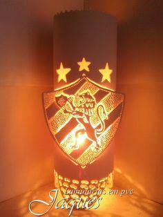 luminária em pvc sport club do recife, criada com cano de 100mm e com 30 cm de altura
