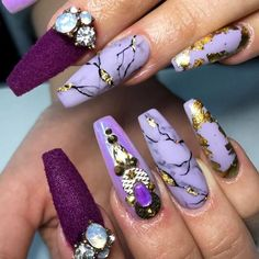 Purple Combo For Your Coffin Nails ️Coffin Nails Ideas For Enchanting Look ️ See… - coffin #nails #nailscoffin #coffinnails