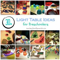 Over 30 fun light table activities that we have enjoyed with our preschoolers: Teaching 2 and 3 Year Olds