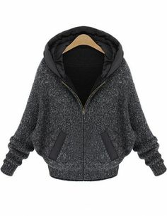 Dark Grey Batwing Sleeve Hood Sweater Coat pictures