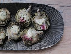 Grilled Artichokes with Mint, Lemon and Garlic Compound Butter