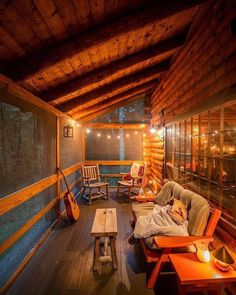 The perfect place to just chill and play the guitar or read a book & Living Cabin Homes, Log Homes, Cabin In The Woods, Cozy Cabin, Cozy Place, House Goals, Future House, Perfect Place, Sweet Home