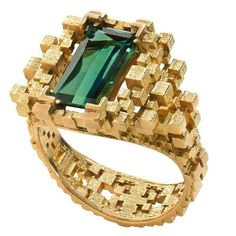 Jo Hayes Ward 3D Printed Sea Green Tourmaline Gold Ring | From a unique collection of vintage cocktail rings at https://www.1stdibs.com/jewelry/rings/cocktail-rings/