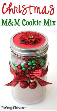 Christms M&M Cookie Mix in a Jar