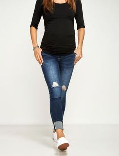 A Pea in the Pod Luxe Essentials Denim Secret Fit Belly Addison Ankle Cuffed Skinny Maternity Jean