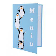 Meniu Botez Madagascar - The Penguins Baby Shower Menu, Baby Shower Invitations, Madagascar, Menu Cards, Handmade Baby, Creative Art, Place Cards, Card Making, Snoopy