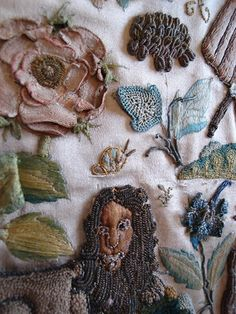 """This is an image from Elmsley Rose's blog, but after posting this (in 2008-2009?) she moved the blog to a new address, and I can't find this image anymore. I assume it is a Jacobean stumpwork or her version of one. The blog is worth reading, though. She shares her """"adventures"""" in embroidery."""