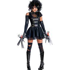 Black Edward Scissorhands Sexy Costume ($34) ❤ liked on Polyvore featuring costumes, black, edward scissorhands halloween costume, edward scissorhands costume, sexy halloween costumes and sexy costumes