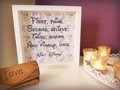 First, think.  Second, believe.  Third, dream.  And finally, dare. - Walt Disney Quote Handmade paper cut Framed Quotation by MyMumAndMeQuotes on Etsy