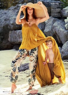 Alessandra Ambrosio poses for Glamour Magazine with her children in a gorgeous bohemian spread