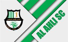 Download wallpapers Al Ahli SC, 4k, Doha, Qatar, white green abstraction, logo, material design, Qatar football club, Qatar Stars League, Q-League, Premier League #footballclubwallpapers
