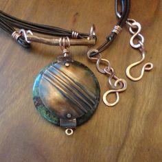 Copper & Dragon Blood Jasper Fold Formed Necklace by EllaAndTess, $57.00