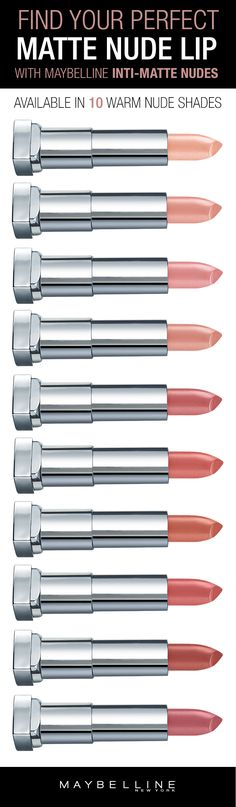 "Looking for the perfect nude lip this summer? Find your perfect ""your lips but better"" nude lipstick with Maybelline Inti-Matte Nudes Lipsticks. These warm, golden nude shades are flattering on all complexions and come in a comfortable, matte formula. All Things Beauty, Beauty Make Up, Hair Beauty, Kiss Makeup, Hair Makeup, Day Makeup Looks, Valentines Day Makeup, Nude Lipstick, Beauty"