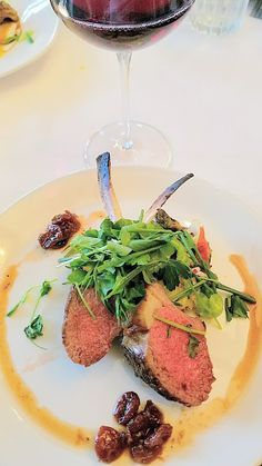 Jake's Grill and Anderson Ranches Lamb Pasture to Plate specials menu: a roasted rack of lamb with spring vegetables, washington cherry chutney, and mustard lamb demi-glace