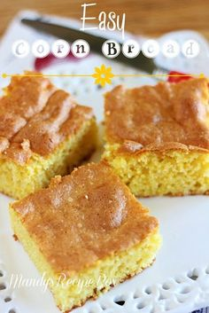Easy Cornbread on Mandy's Recipe Box. 2 boxes Jiffy Cornbread mix 1 box Duncan Hines Butter Golden cake mix (without pudding in the mix) Jiffy Cornbread Mix, Sweet Cornbread, Cornbread Recipes, Corn Recipes, Yummy Recipes, Dessert Drinks, Dessert Recipes, Desserts, Dinner Recipes