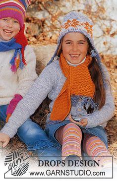 DROPS Children 12-17 - DROPS Hue, halstørklæde og jakke - Free pattern by DROPS Design