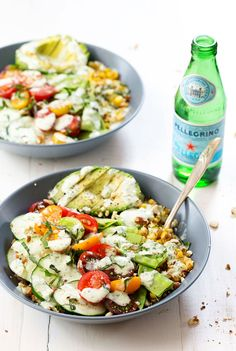 Rainbow Veggie Bowls with Jalapeño Ranch - layers of colorful veggies, grains, and nuts all covered with a homemade ranch dressing! 300 calories. | pinchofyum.com #salad #recipe #healthy #vegetarian