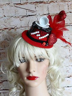 Unique red mini top hat steampunk alice in #wonderland tea #party queen of #heart, View more on the LINK: http://www.zeppy.io/product/gb/2/152132926185/
