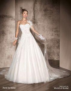A-line Wedding Dresses : Perle by Delsa 2016 Wedding Dress