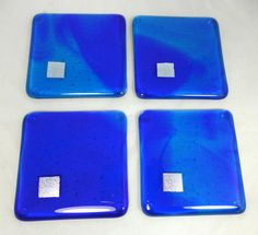 Fused Glass Coasters with swirly Sapphire Blue by SugarLipsGlass
