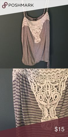 Striped tank top Wet Seal gray and blue striped tank top with lace detailing. Tops Tank Tops