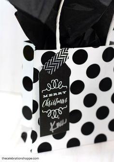 Black and White Christmas Gift Tags | TheCelebrationShoppe.com
