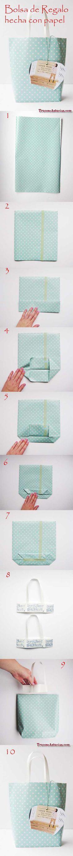 haz tu propia bolsa de papel de regalo #crafts #tips #regalos #gifts #manualidades