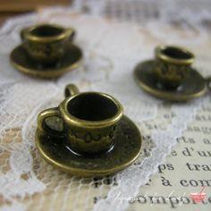 5 Pcs Teacup Charms Antique Bronze Teacup Charm Alice in Wonderland Tea Vintage Style Pendant Charm Jewelry Supplies  G009
