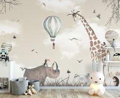 Kids Wallpaper Watercolor Hippopotam and Giraffe Wall Print Hot Air Balloon Wall Print Nursery Room Decor Girls Boys Bedroom - -
