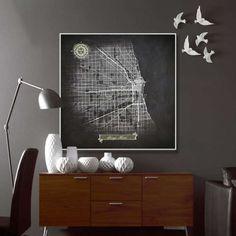 CHICAGO IL Canvas Map Print Modern Art Chicago by NightLightMaps