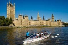Rowing on the Thames past the Houses of Parliament