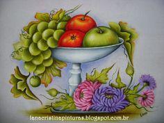 Pintura em Tecido e Artesanato: Crisântemos, Fruteira com Uvas e Maçãs...Pintura e...