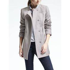 Banana Republic Womens Cotton Snap Coat (1,460 HKD) ❤ liked on Polyvore featuring outerwear, coats, jet gray, banana republic, cotton coat, petite coats, grey coat and tall coats