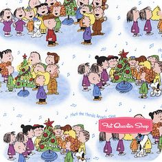 Christmas Time Blue on White Characters Caroling Yardage SKU# 22654-ZB
