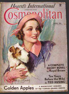 1935 Cosmopolitan Magazine Cover ~ Woman w/ Wire Fox Terrier Dog