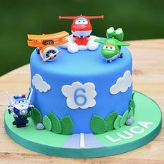 Super Wings Cake for a super little boy! Airplane Birthday Cakes, Harry Birthday, Baby Birthday Cakes, Baby Boy Cakes, Cakes For Boys, Boy Birthday Parties, 4th Birthday, Bolo Superwings, Bolo Hot Wheels