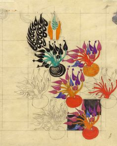 "design-is-fine: ""Charles Rennie Mackintosh, Textile design: Flowering Bulb, Watercolour. Via Hunterian "" Charles Rennie Mackintosh Designs, Charles Mackintosh, Botanical Drawings, Botanical Art, Textiles, Art Nouveau, Glasgow School Of Art, Art Design, Textile Design"