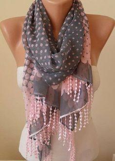 Grey pink and polka dots fashion scarf