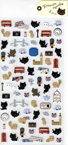 San-X  Kutusita Nyanko Sticker Sheet. $2.75, via Etsy.