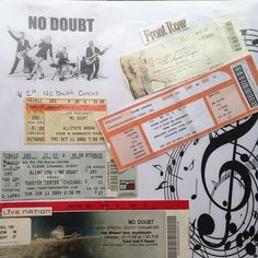 Rodriguez ---- No Doubt pinned my scrapbook page of ticket stubs from their concerts! Gwen Stefani No Doubt, My Scrapbook, Scrapbooking, Ticket Stubs, Concert Tickets, Concerts, Candy, Diy, Ideas