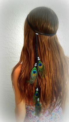Feather Headband, Boho headband, Bohemian headband, Native American, braided headband, hairband, Pocahontas headband, hippie, peacock