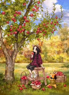A Bite of a ripe, red Autumn 붉게 익은 가을 한입 I carefully pick a couple of red, ripe apples. I took a bite unable to resist the mouth-watering… Art Anime Fille, Anime Art Girl, Art And Illustration, Art Fantaisiste, Art Mignon, Grafiti, Forest Girl, Whimsical Art, Fabric Painting