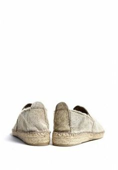 Natural Leather Beige Pony Hair Espadrilles by Prism