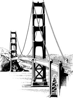 VintageFeedsacks: Free Vintage Clip Art - The Golden Gate Bridge Puente Golden Gate, Bridge Drawing, World Icon, Building Drawing, Burning Bridges, San Fransisco, Wooden Wall Art, Pyrography, Golden Gate Bridge